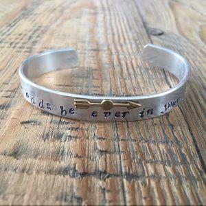 Hammered Metal Quote Bracelet